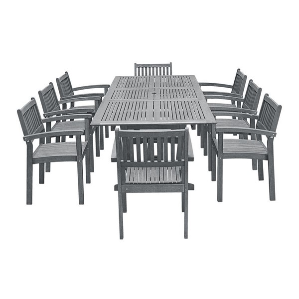 VIFAH Renaissance Hand Scraped Wood Outdoor Patio 9pc Dining Set VFH-V1294SET24