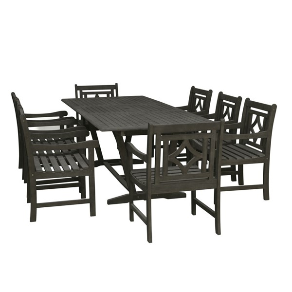 VIFAH Renaissance Hand Scraped Hardwood Extendable Table Outdoor Patio 7pc Dining Set VFH-V1294SET25