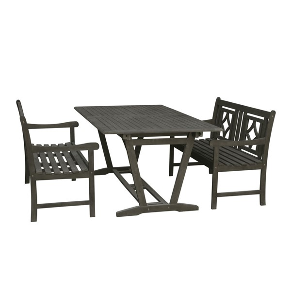 VIFAH Renaissance Hand Scraped Hardwood Extendable Table Outdoor 3pc Dining Set VFH-V1294SET27