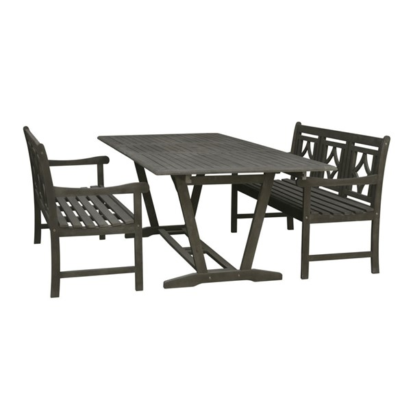 VIFAH Renaissance Hand Scraped Hardwood Extendable Table Outdoor Patio 3pc Dining Set VFH-V1294SET28