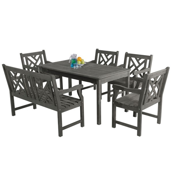 VIFAH Renaissance Hand Scraped Wood Decorative Back 4 Foot Bench Outdoor 6pc Dining Set VFH-V1297SET19