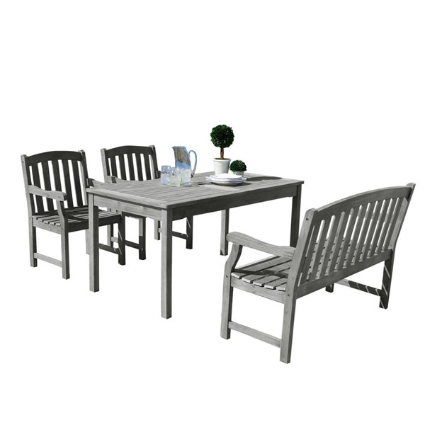 VIFAH Renaissance Hand Scraped Wood 4 Foot Bench Outdoor Patio 4pc Dining Set VFH-V1297SET22