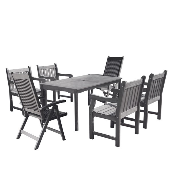 VIFAH Renaissance Hand Scraped Wood 7pc Outdoor Dining Set VFH-V1297SET25