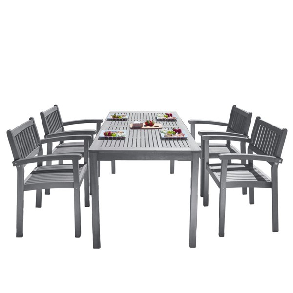 VIFAH Renaissance Hand Scraped Wood Slatted Back 5pc Outdoor Dining Set VFH-V1297SET27