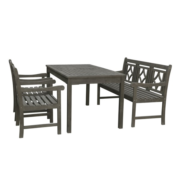 VIFAH Renaissance Hand Scraped Hardwood Outdoor Patio 4pc Rectangle Dining Set VFH-V1297SET33