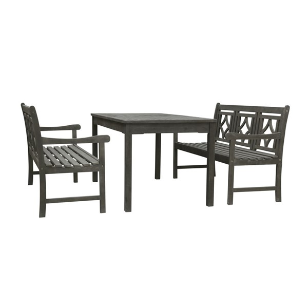 VIFAH Renaissance Hand Scraped Hardwood Outdoor 3pc Rectangle Dining Set VFH-V1297SET35