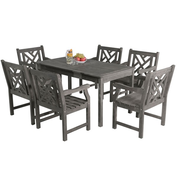 VIFAH Renaissance Hand Scraped Wood Decorative Back Outdoor 7pc Dining Set VFH-V1297SET9