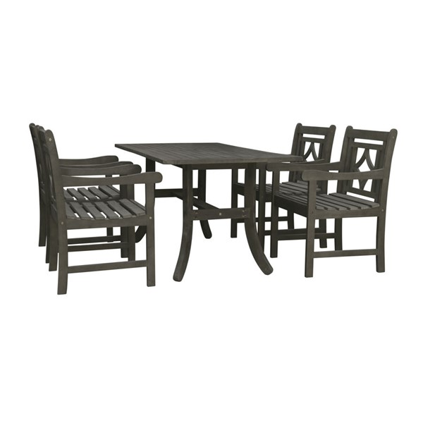 VIFAH Renaissance Hand Scraped Hardwood Curvy Legs Table Outdoor 5pc Dining Set VFH-V1300SET14