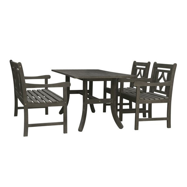 VIFAH Renaissance Hand Scraped Hardwood Diamond Back Outdoor 4pc Dining Set VFH-V1300SET16