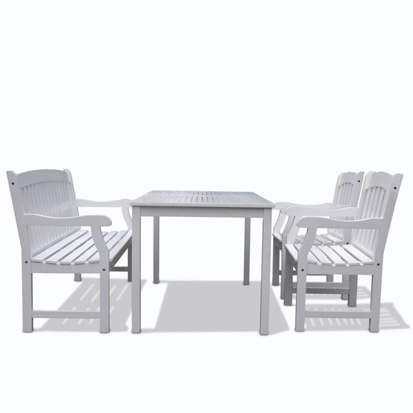 VIFAH Bradley White Wood 5 Foot Slat Back Bench Outdoor Patio 4pc Dining Set VFH-V1336SET10