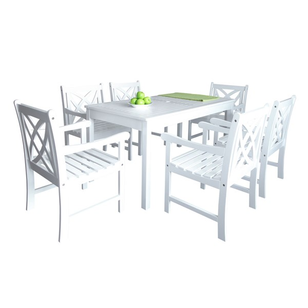 VIFAH Bradley White Wood Contoured Back Chairs Outdoor Patio 7pc Dining Set VFH-V1336SET9