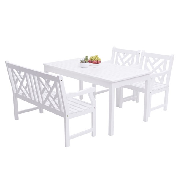 VIFAH Bradley White Wood 4 Foot Contoured Seat Bench Outdoor Patio 4pc Dining Set VFH-V1336SET22