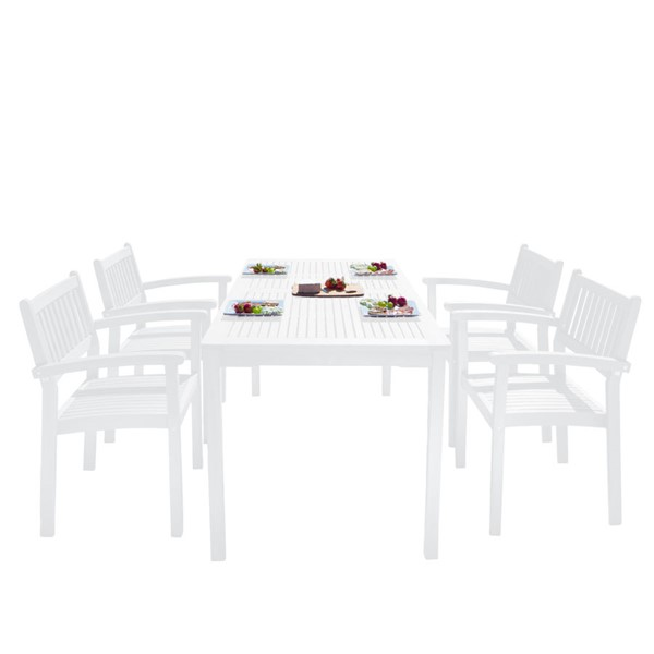VIFAH Bradley White Wood Stacking Slatted Back Chairs Outdoor Patio 5pc Dining Set VFH-V1336SET24