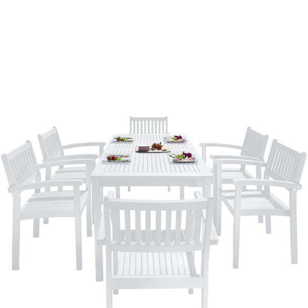 VIFAH Bradley White Wood Stacking Slatted Back Chairs Outdoor Patio 7pc Dining Set VFH-V1336SET25