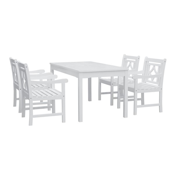 VIFAH Bradley White Wood Outdoor Patio 5pc Rectangular Dining Set VFH-V1336SET26