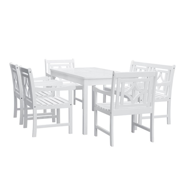 VIFAH Bradley White Wood Outdoor Patio 6pc Rectangular Dining Set VFH-V1336SET29