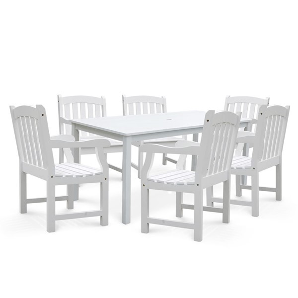 VIFAH Bradley White Wood Slat Back Chairs Outdoor Patio 7pc Dining Set VFH-V1336SET7