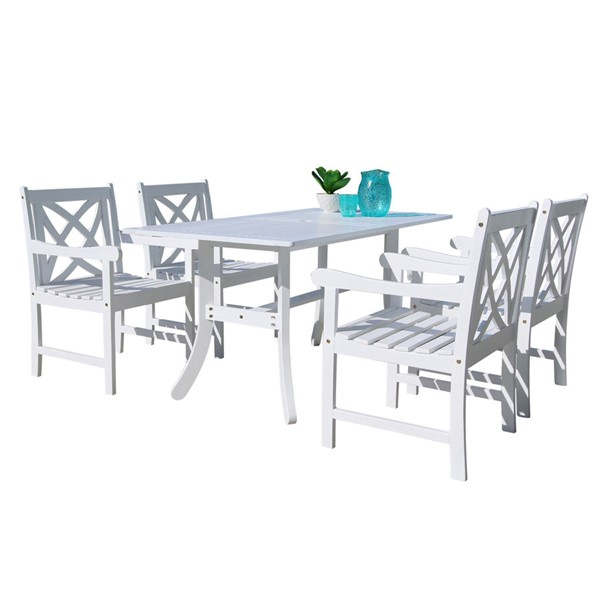 VIFAH Bradley White Wood Decorative Back Chairs Outdoor Patio 5pc Dining Set VFH-V1337SET14