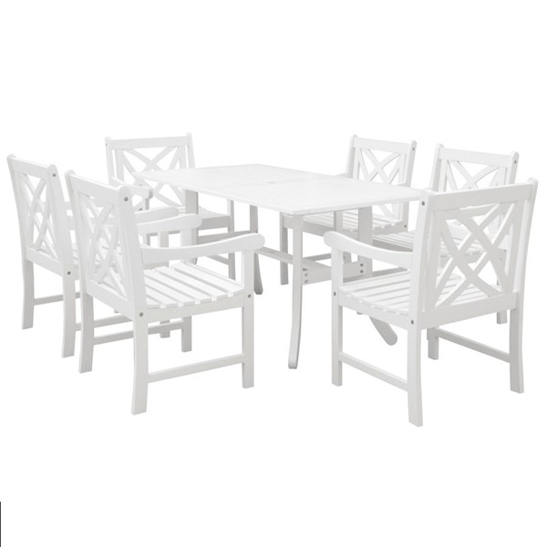 VIFAH Bradley White Wood Decorative Back Chairs Outdoor Patio 7pc Dining Set VFH-V1337SET15