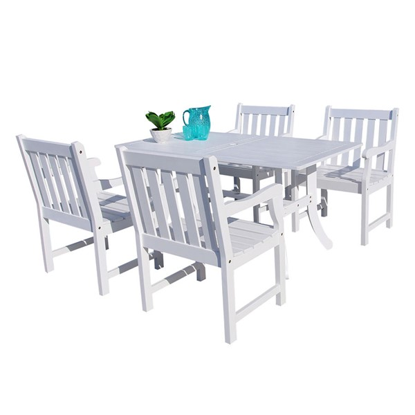 VIFAH Bradley White Wood Outdoor Patio 5pc Dining Set VFH-V1337SET16