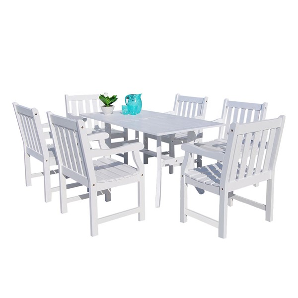 VIFAH Bradley White Wood Outdoor Patio 7pc Dining Set VFH-V1337SET17