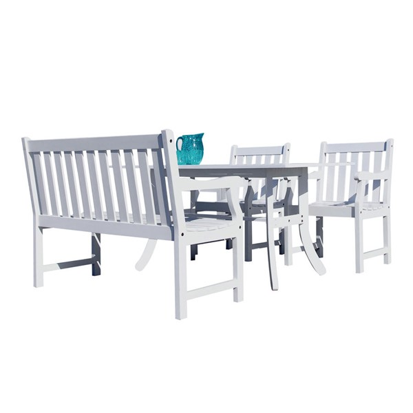 VIFAH Bradley White Wood 4 Foot Slatted Back Bench and Chairs Outdoor Patio 4pc Dining Set VFH-V1337SET18
