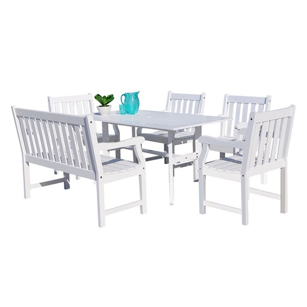 VIFAH Bradley White Wood 4 Foot Slatted Back Bench and Chairs Outdoor Patio 6pc Dining Set VFH-V1337SET19