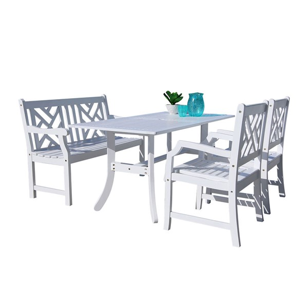 VIFAH Bradley White Wood 4 Foot Bench Outdoor Patio 4pc Rectangle Dining Set VFH-V1337SET20