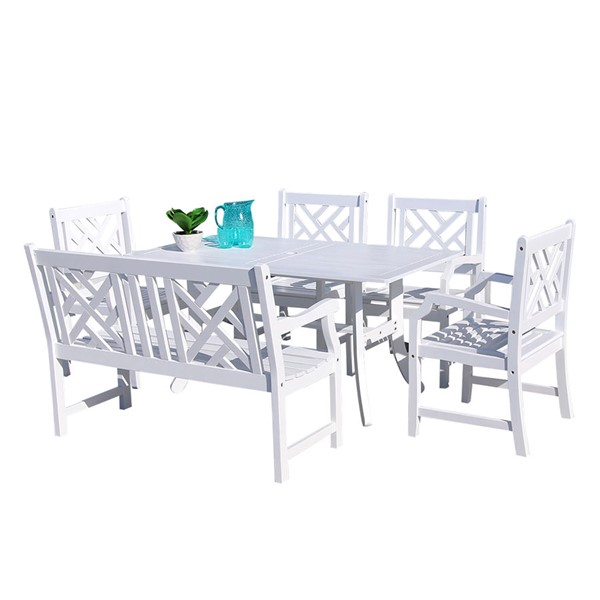 VIFAH Bradley White Wood 4 Foot Bench Outdoor Patio 6pc Rectangle Dining Set VFH-V1337SET21