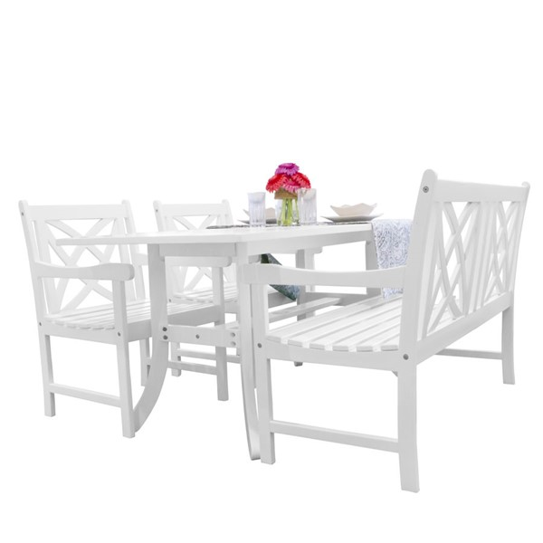 VIFAH Bradley White Wood 4 Foot Bench Outdoor Patio 4pc Dining Set VFH-V1337SET24