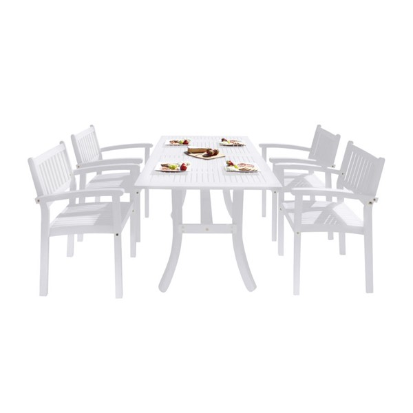 VIFAH Bradley White Wood Stacking Chairs Outdoor Patio 5pc Dining Set VFH-V1337SET25