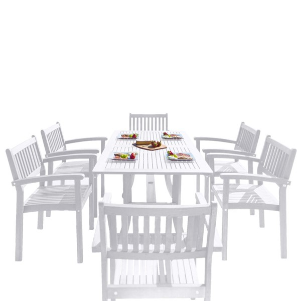 VIFAH Bradley White Wood Stacking Chairs Outdoor Patio 7pc Dining Set VFH-V1337SET26