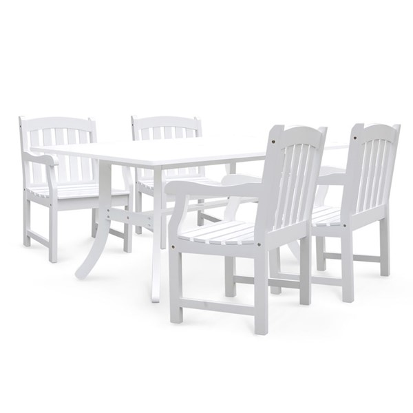 VIFAH Bradley White Wood Slatted Back Chairs Outdoor Patio 5pc Dining Set VFH-V1337SET6