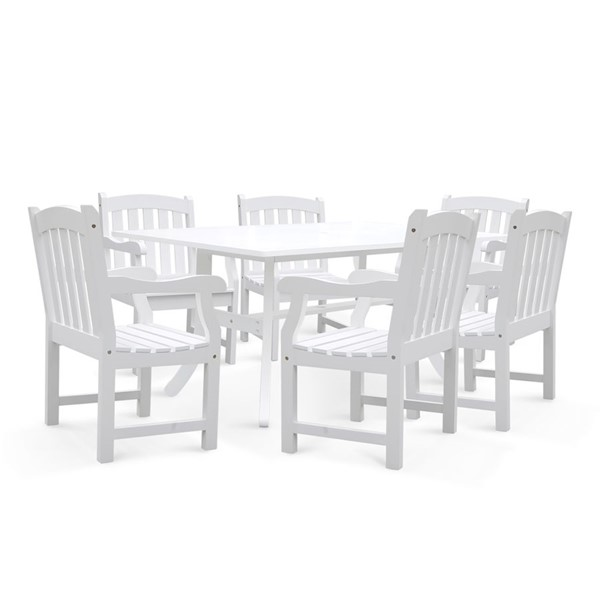 VIFAH Bradley White Wood Slatted Back Chairs Outdoor Patio 7pc Dining Set VFH-V1337SET7