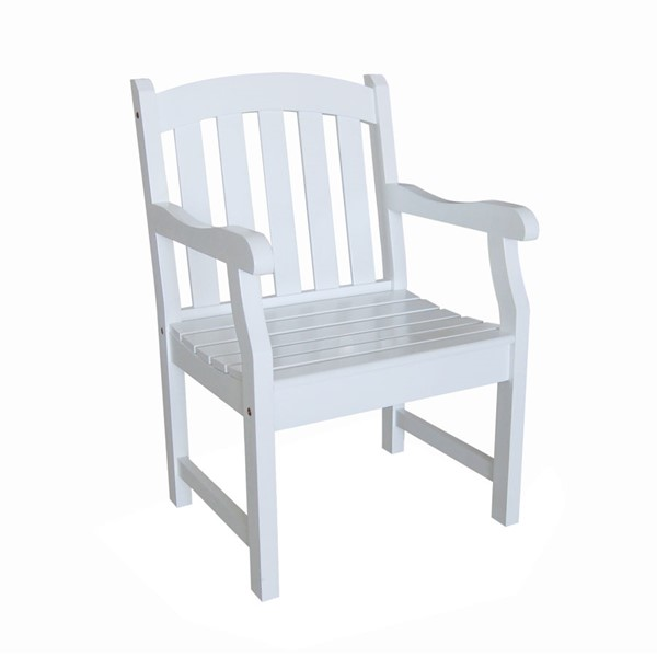 VIFAH Bradley White Slatted Back Outdoor Garden Armchair VFH-V1339