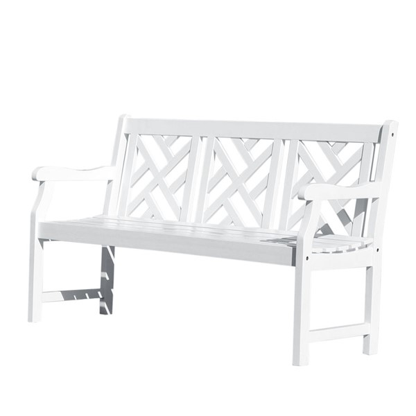 VIFAH Bradley White Wood Contoured Seat Outdoor Patio 5 Foot Garden Bench VFH-V1342