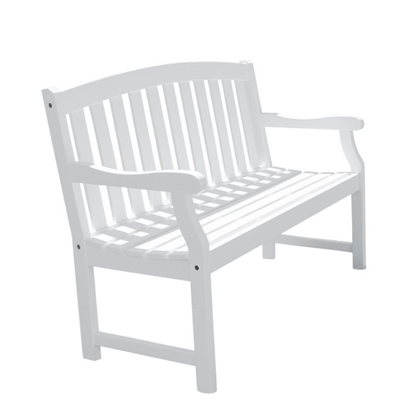 VIFAH Bradley White Wood Contoured Back Outdoor Patio 5 Foot Garden Bench VFH-V1343