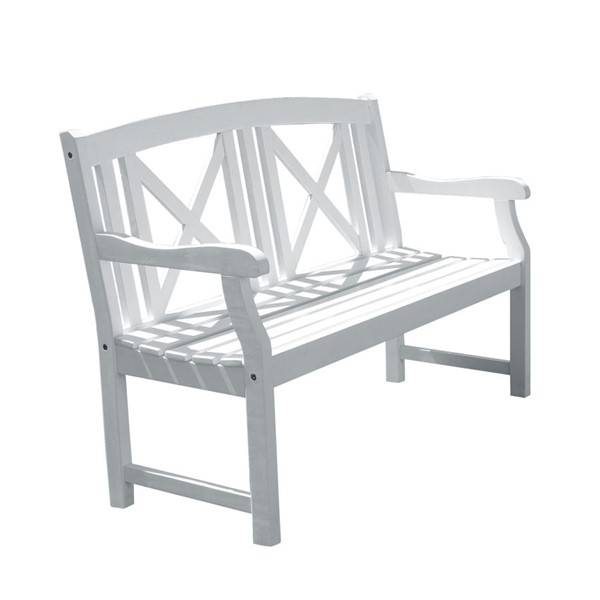VIFAH Bradley White Wood Cross Back Outdoor Patio 4 Foot Garden Bench VFH-V1353