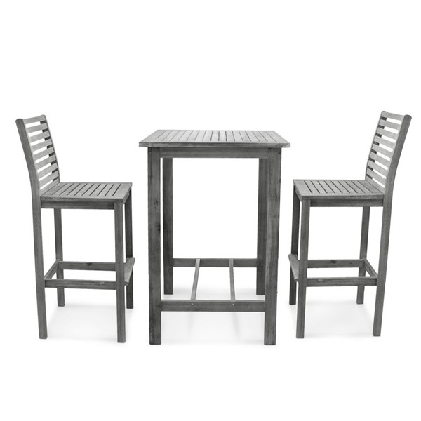 VIFAH Renaissance Hand Scraped Wood Outdoor Patio Bar Set VFH-V1355SET2
