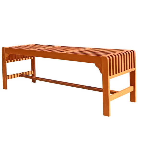 VIFAH Malibu Natural Wood 5 Foot Outdoor Patio Backless Garden Bench VFH-V1400