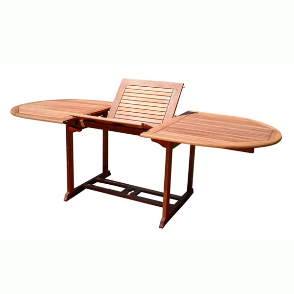 VIFAH Malibu Natural Wood Outdoor Oval Foldable Butterfly Extension Table VFH-V144