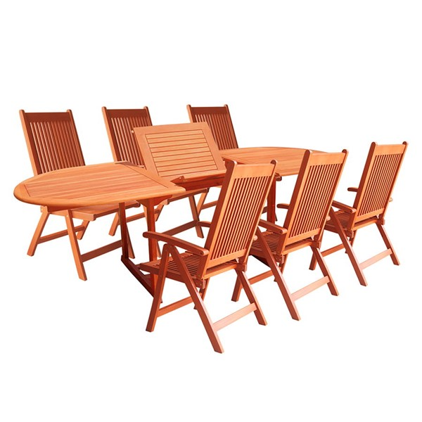 VIFAH Malibu Natural Wood Extension Table 7pc Outdoor Patio Dining Set VFH-V144SET1