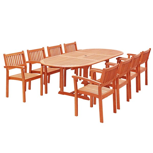 VIFAH Malibu Natural Wood Stacking Chairs Outdoor Patio 9pc Dining Set VFH-V144SET28N