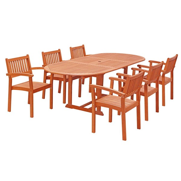 VIFAH Malibu Natural Wood Stacking Chairs 7pc Outdoor Dining Set VFH-V144SET30