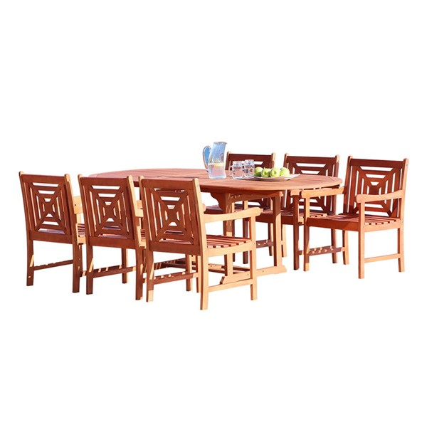VIFAH Malibu Natural Wood Extension Table Outdoor 7pc Dining Set VFH-V144SET37