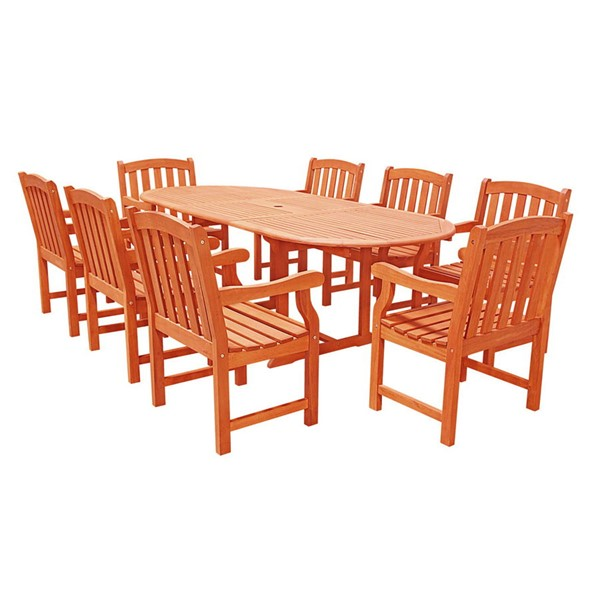 VIFAH Malibu Natural Wood Extension Table 9pc Dining Outdoor Patio Set VFH-V144SET4