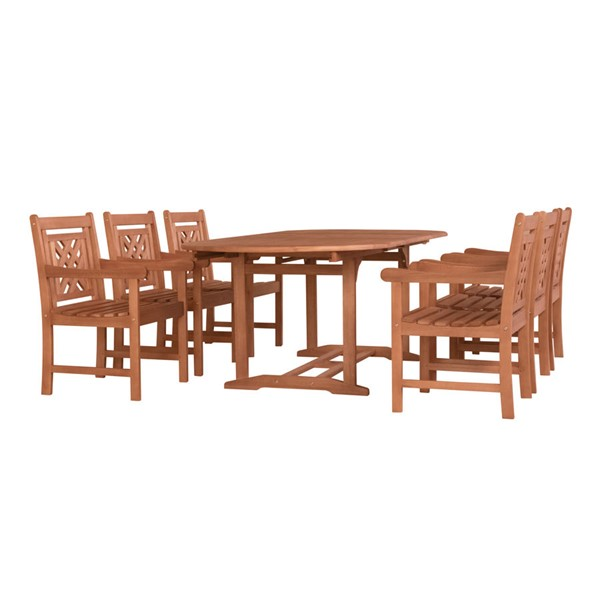 VIFAH Malibu Natural Wood Extendable Table 7pc Outdoor Dining Set VFH-V144SET45