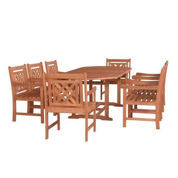 VIFAH Malibu Natural Wood Extendable Table 9pc Outdoor Dining Set VFH-V144SET46