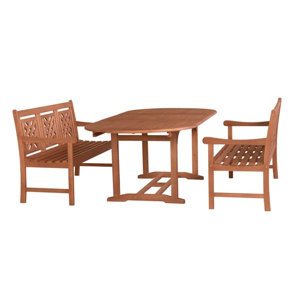 VIFAH Malibu Natural Wood Decorative Back 3pc Outdoor Patio Dining Set VFH-V144SET48