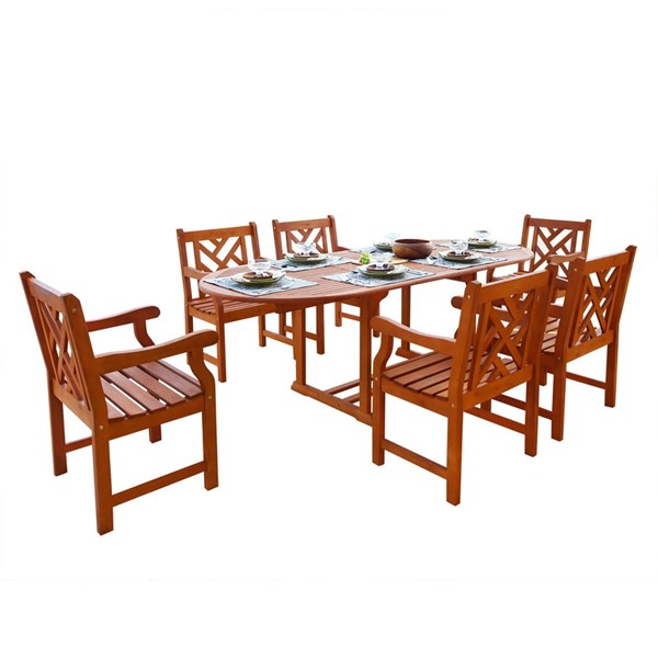 VIFAH Malibu Natural Wood Extension Table 7pc Outdoor Dining Set VFH-V144SET7
